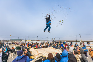 The Blanket toss concludes the days outside activities for the Nalukatuk festival in Barrow, Alaska, which celebrates the Inupiaq subsistence whale hunt.